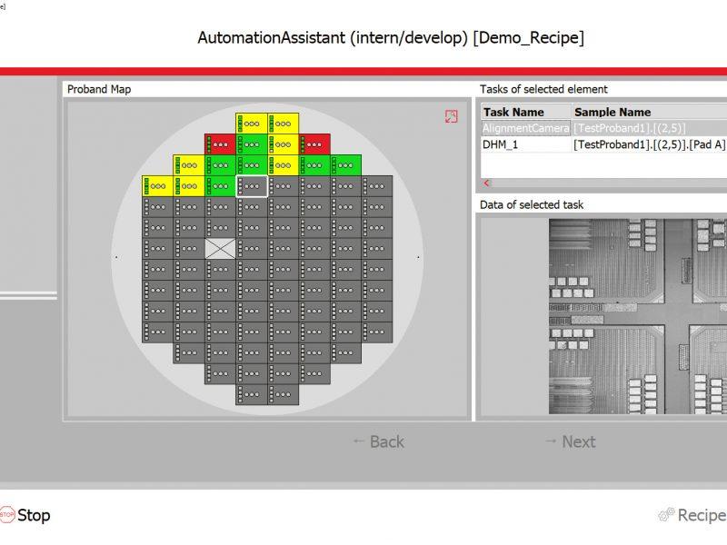 Bildschirmdarstellung eines automatischen Scans mit Wafer-Prober